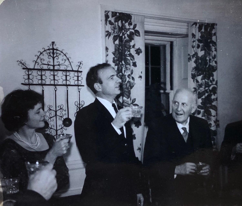 James MacGregor Burns proposing a new year's toast