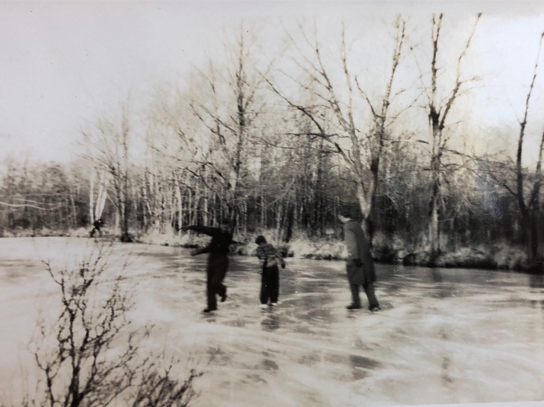Skating on pond behind Kent Cottage, Burlington MA