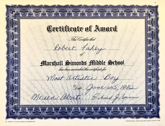 Robert Fahey certificate