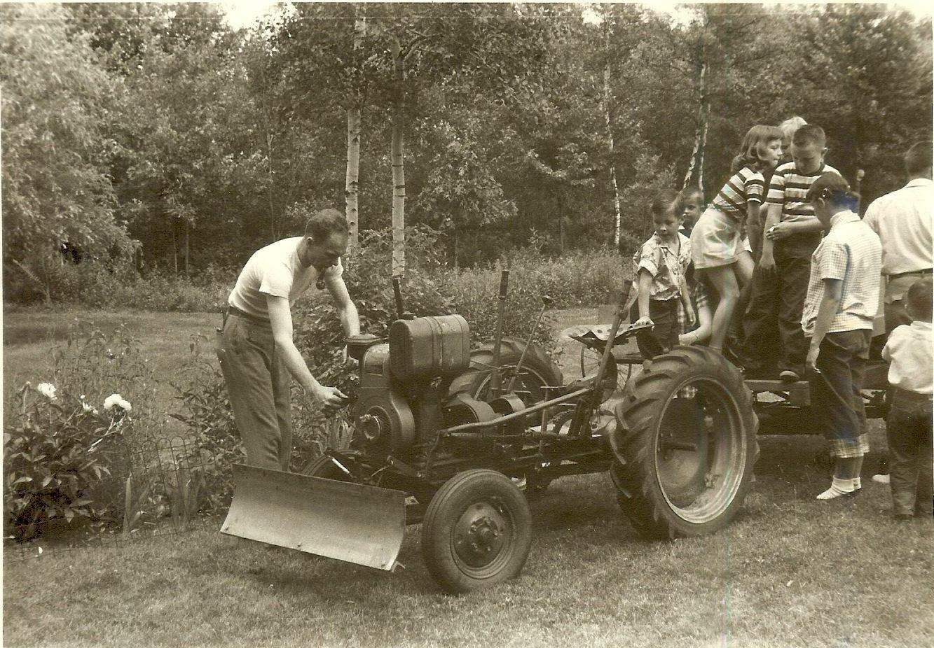 Robert Burns fires up his home-made tractor, Burlington MA