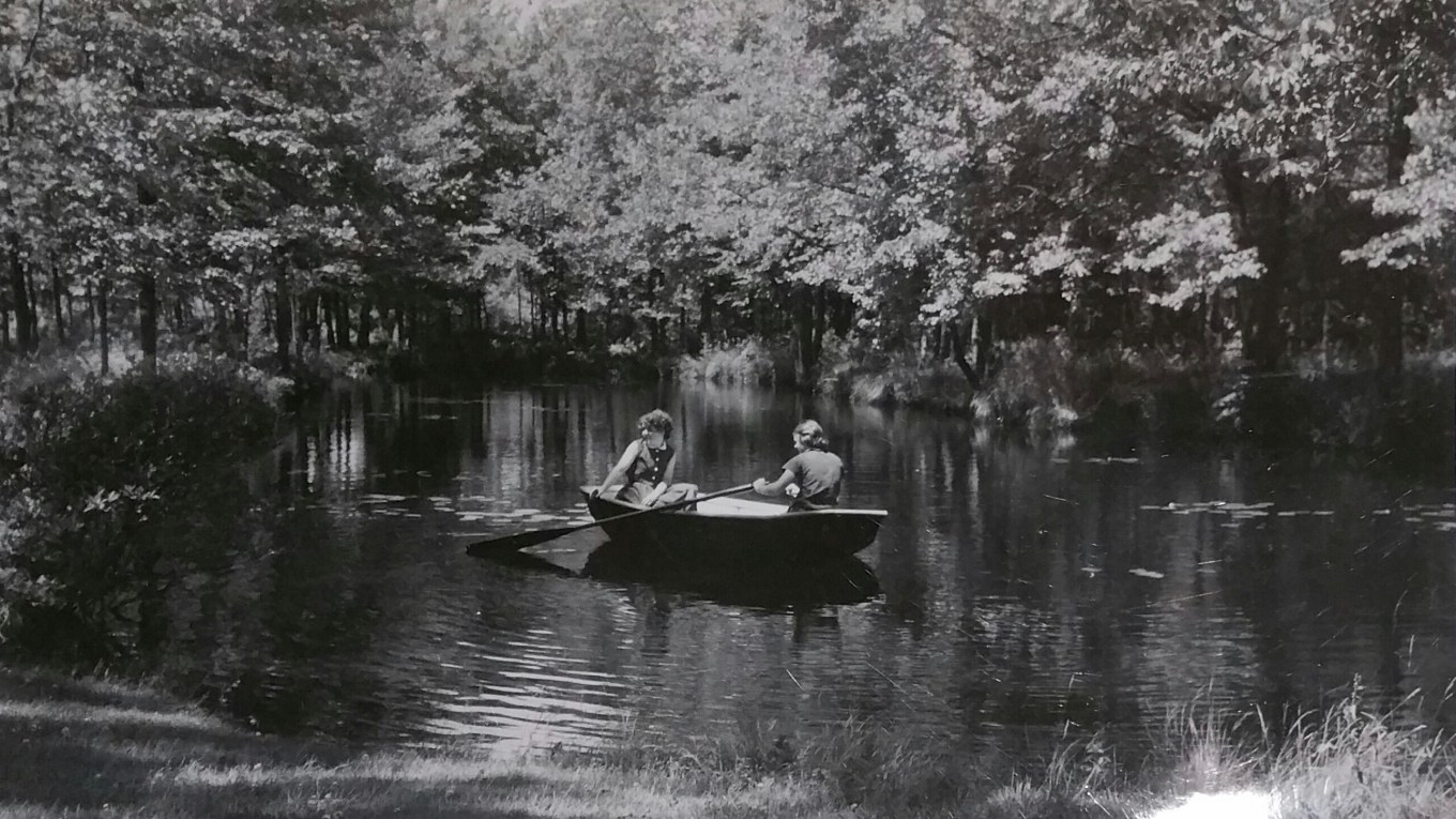 Leila Bunce, Mildred's niece (left) and Clare BurnsLeila Bunce, Mildred's niece (left) and Clare Burns boating at Kent Cottage Burlington MA, early 1950s