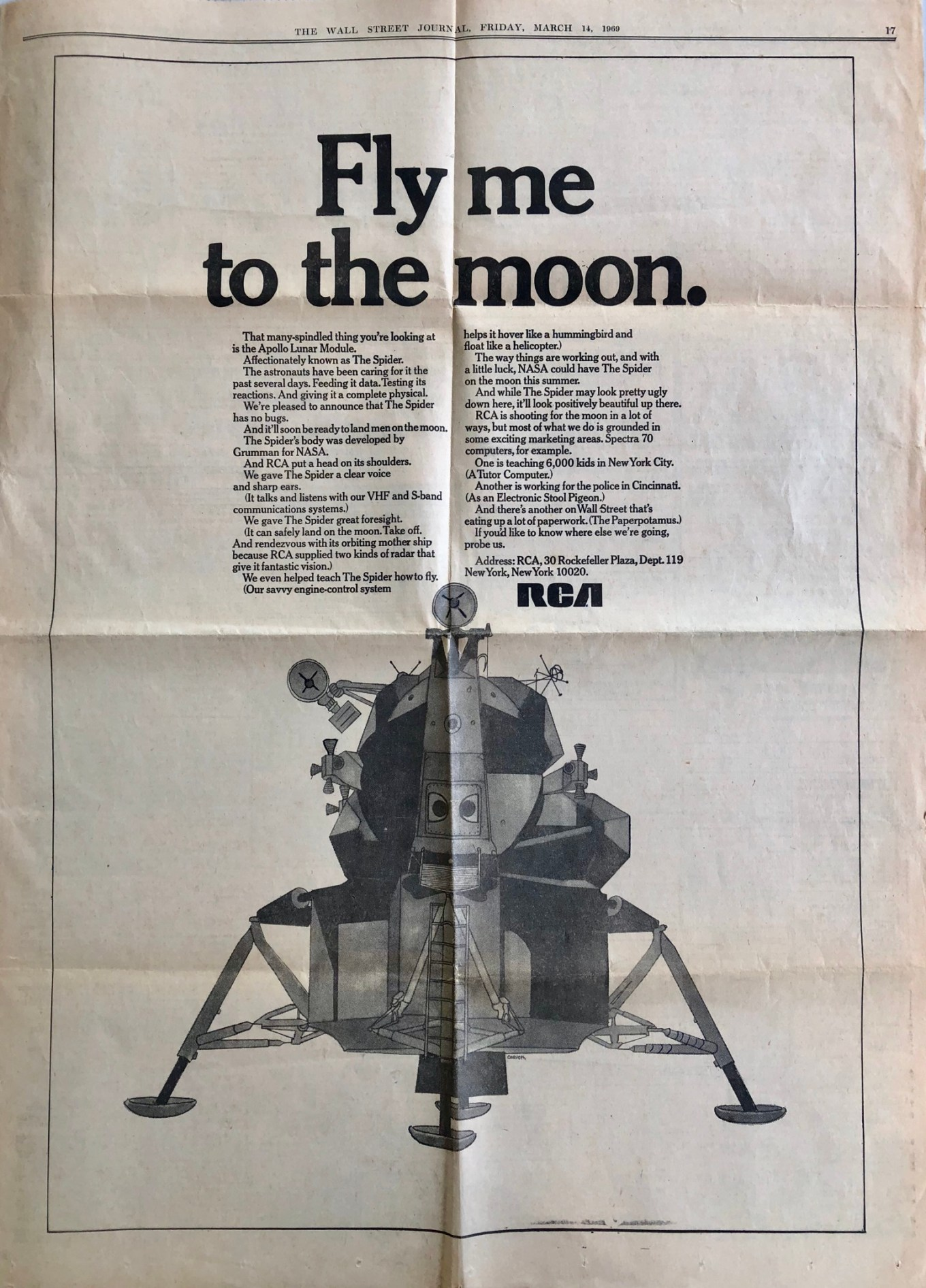 RCA full-page ad in Wall Street Journal, March 1969