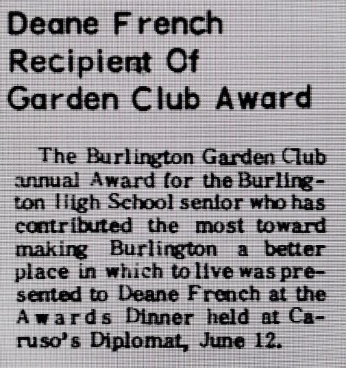 Deane French garden club award Burlington MA