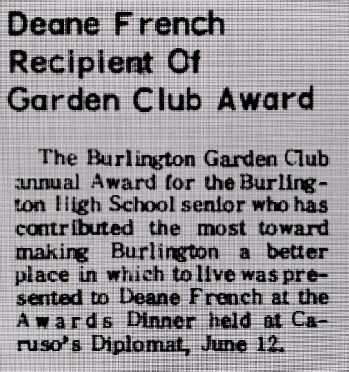 Deane French garden club award Burlington MA