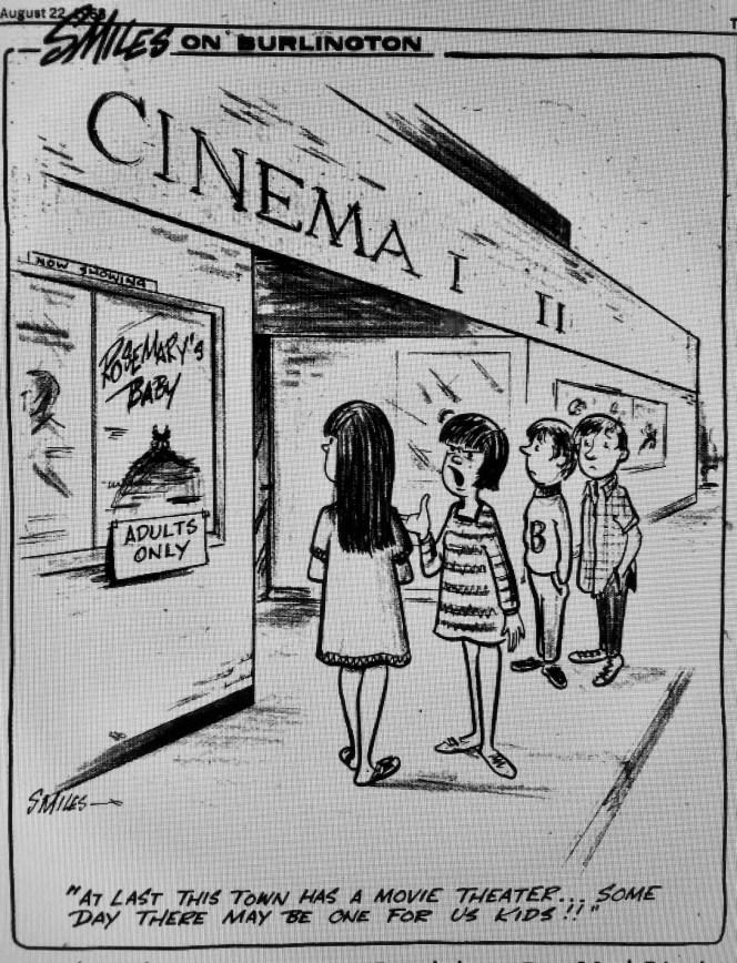 Burlington Mall Cinema I and II cartoon