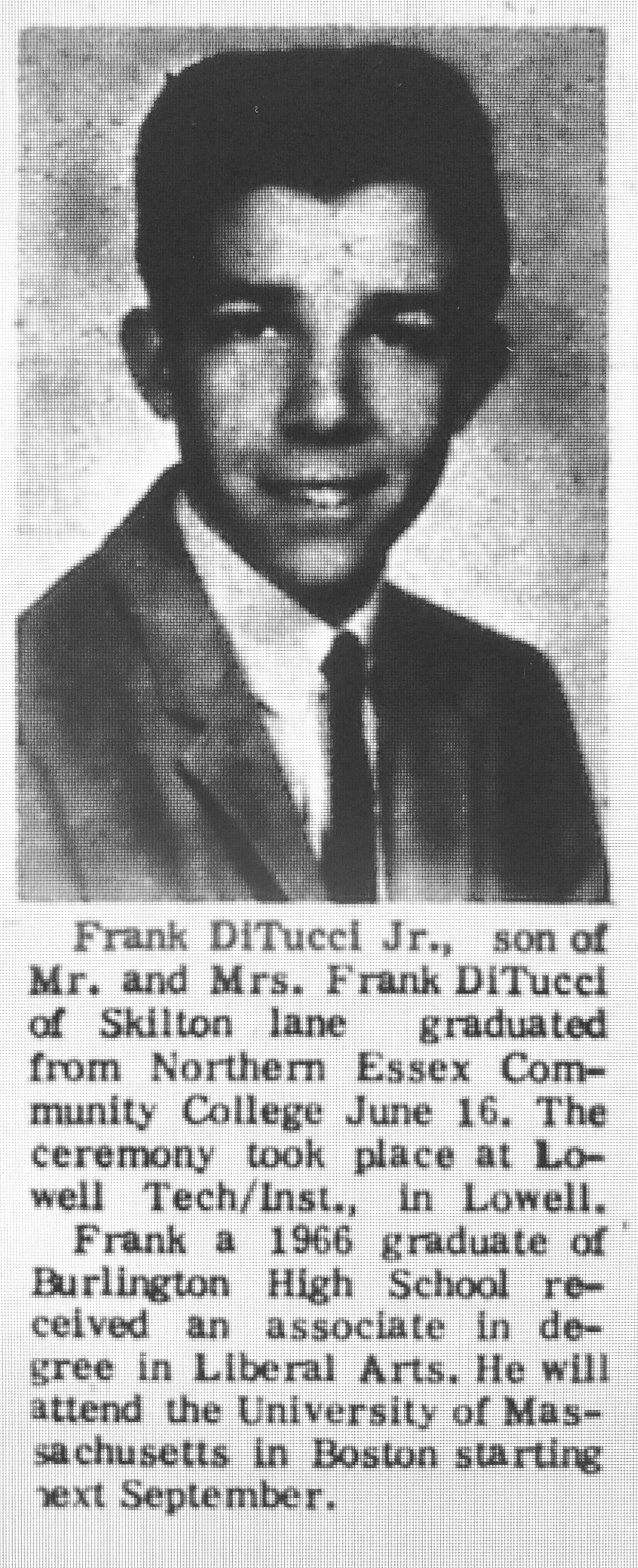 Frank Ditucci Jr. graduation Burlington MA