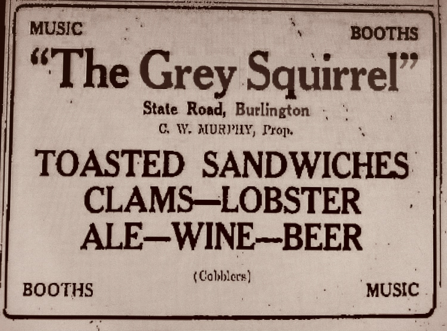 Grey Squirrel ad 1935 Burlington, MA