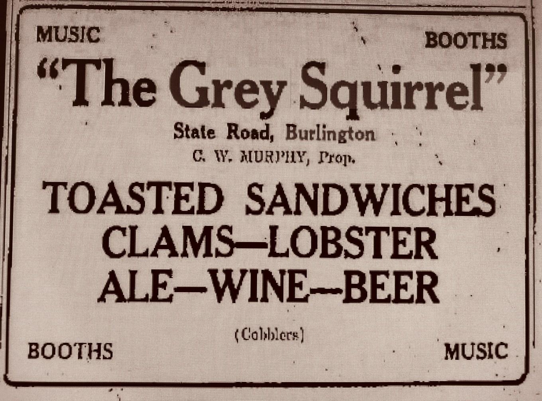 Grey Squirrel ad 1935 Burlington, MA