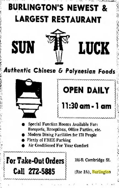 Sun Luck ad Burlington, MA