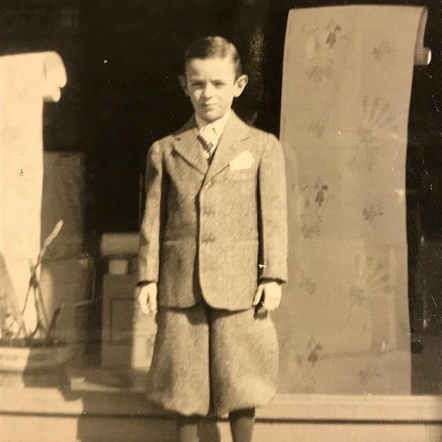 Arthur in 1942 outside Fine Arts Wallpaper in Brooklyn