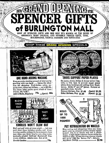 Spencer Gifts grand opening 1968, Burlington MA