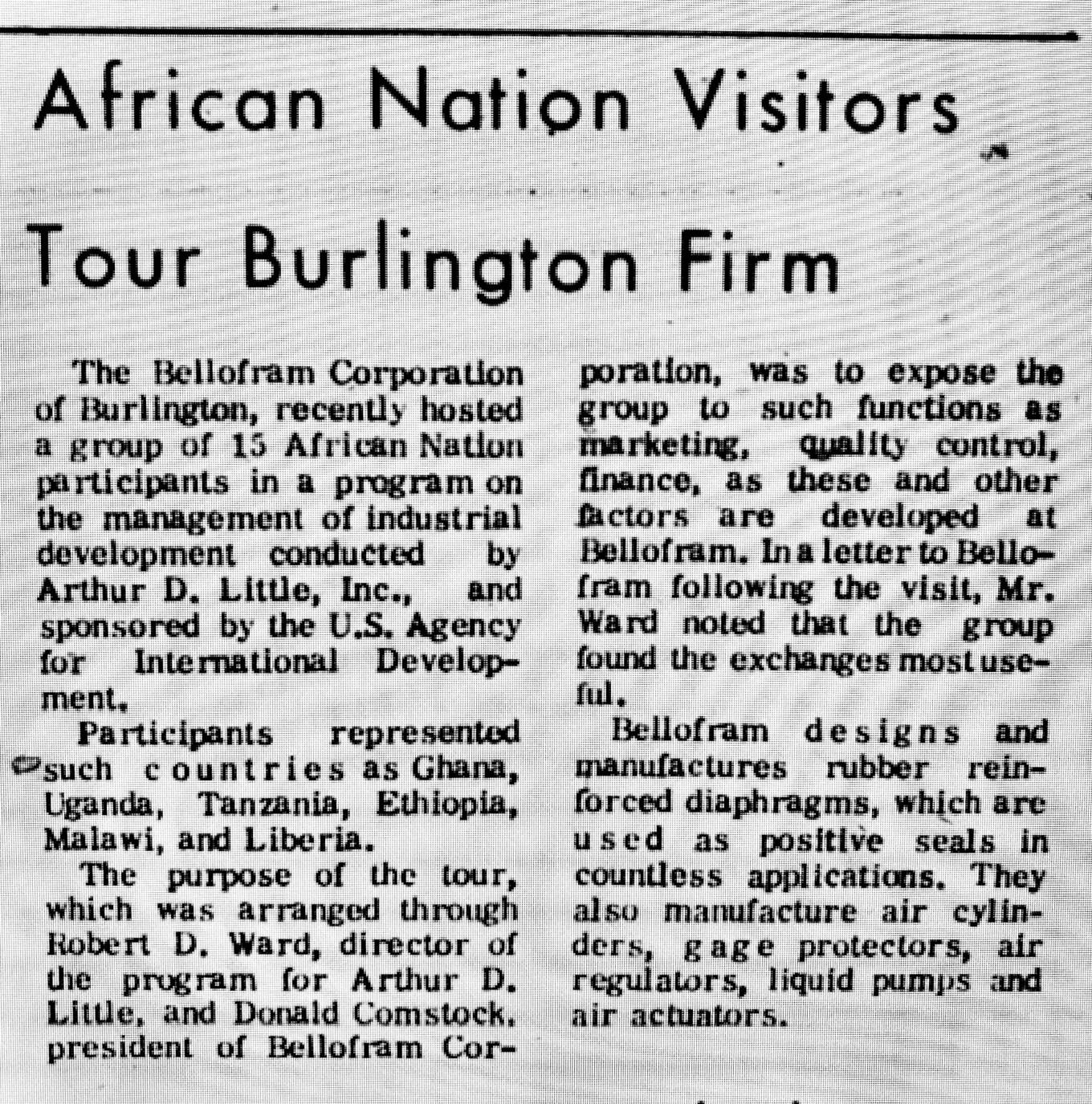 African nation visitors to Bellofram Burlington MA