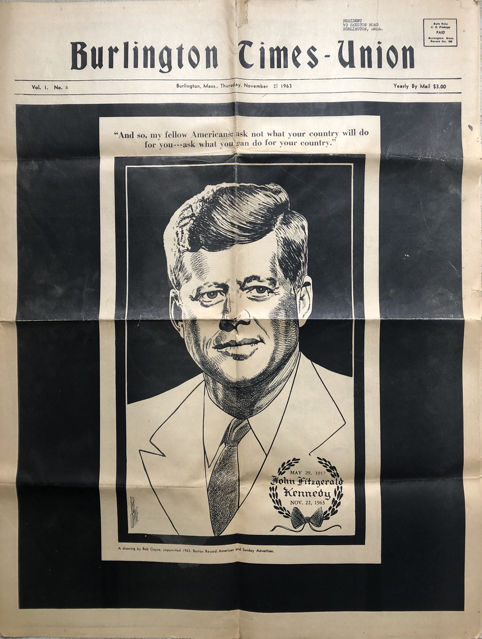 JFK full-page tribute Burlington Times-Union
