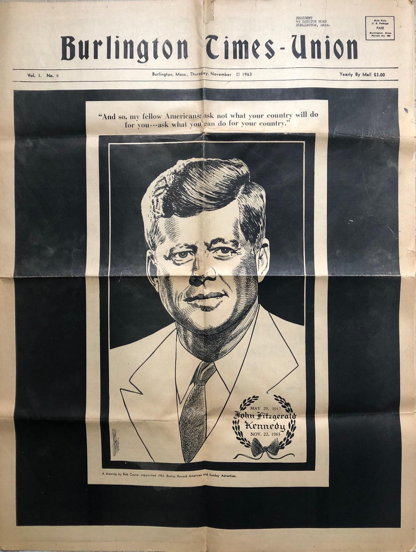 JFK full-page tribute Burlington Times-Union