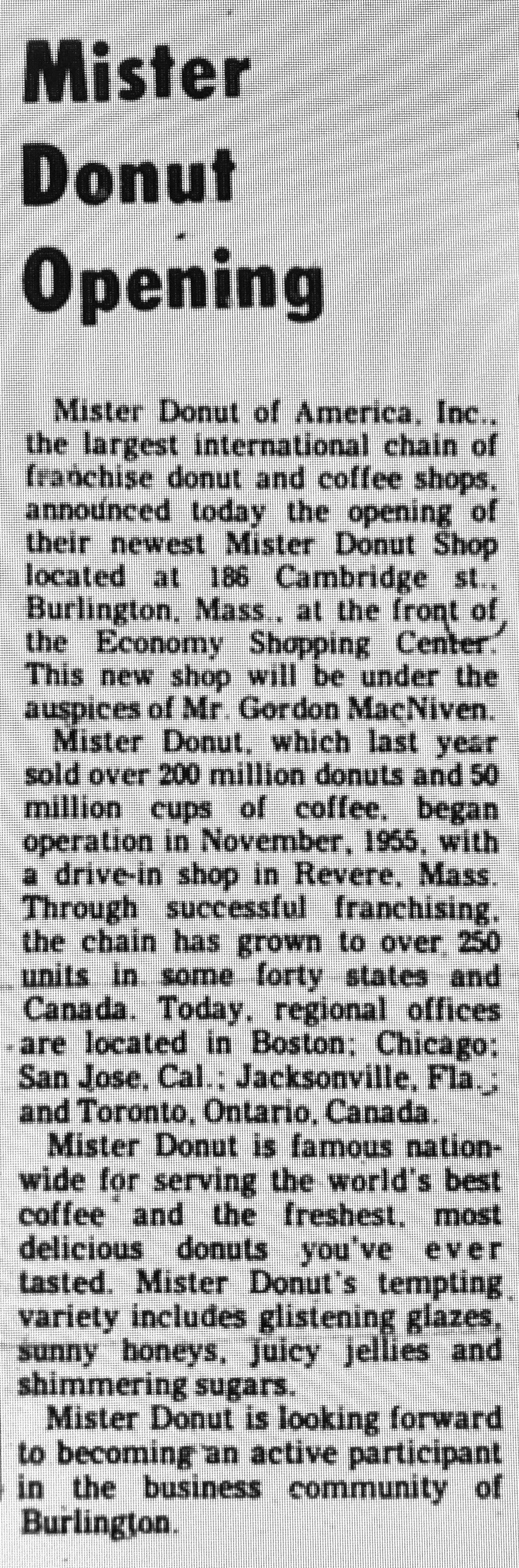 Mister Donut grand opening article Burlington MA