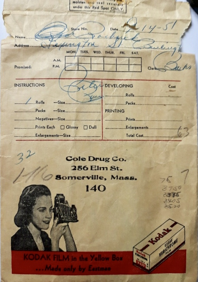 Roebuck film envelope showing Lexington Street address