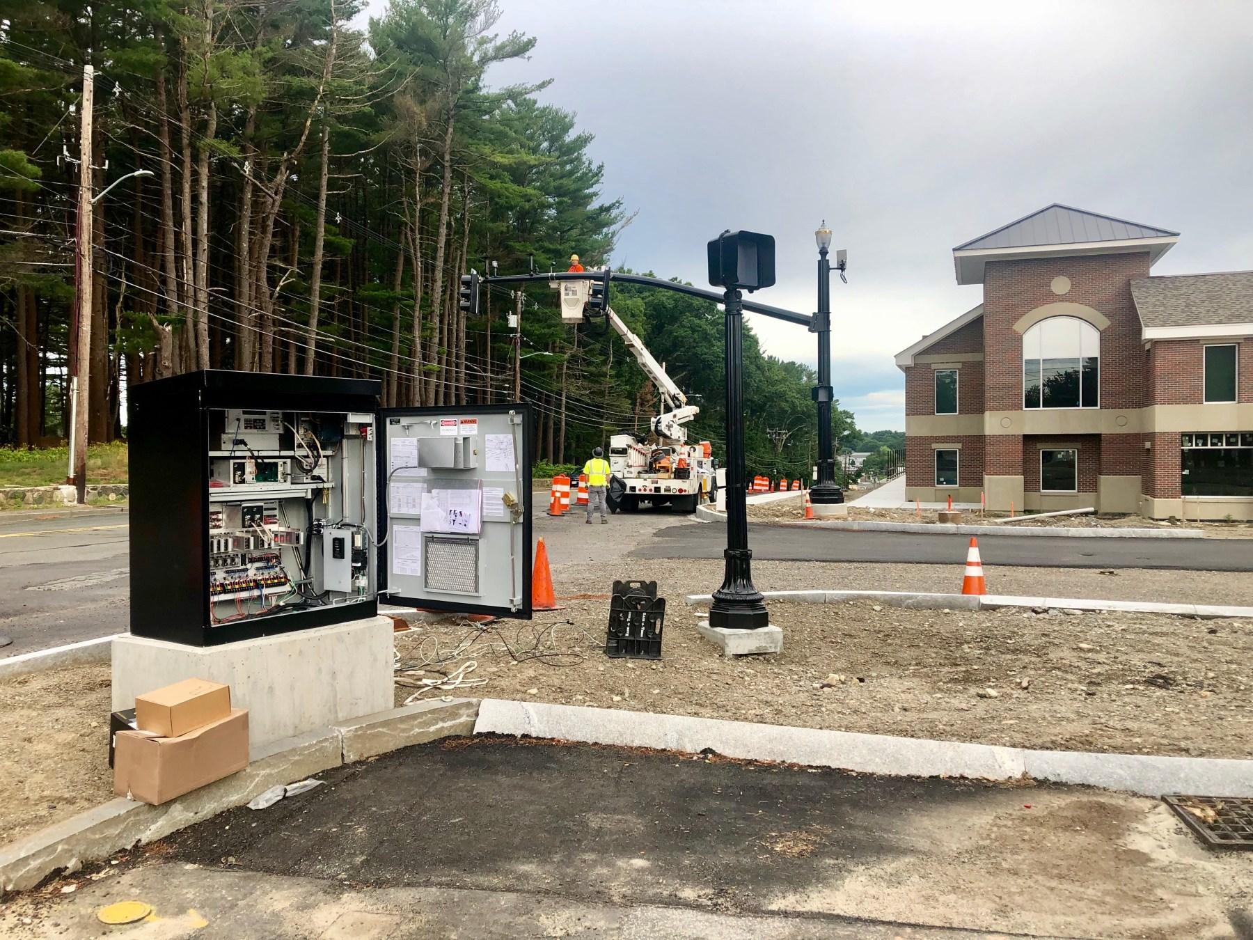 Traffic light installation at the Shoppes, Burlington MA