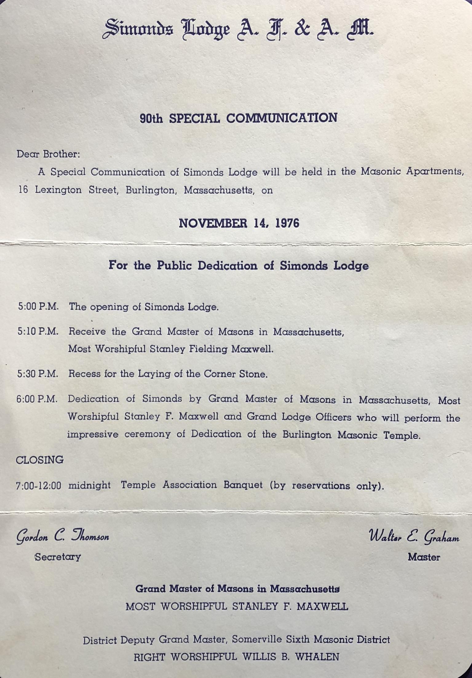 Simonds Lodge program Burlington, MA