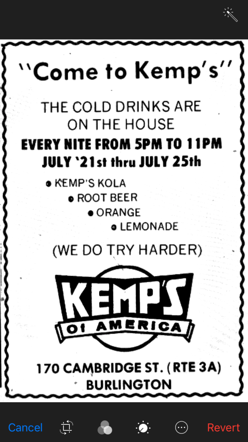"Kemp's ""Come to Kemp's"" ad Burlington MA"