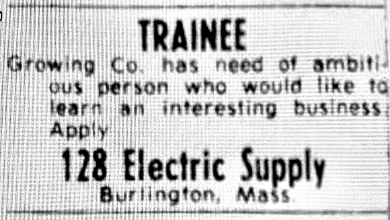 128 Electric Supply ad 1979, Burlington MA