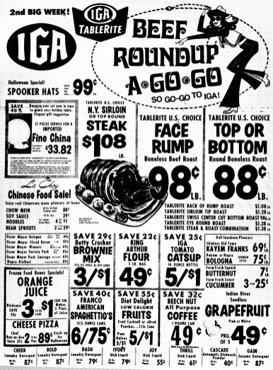 IGA go-go ad 1969, Burlington MA