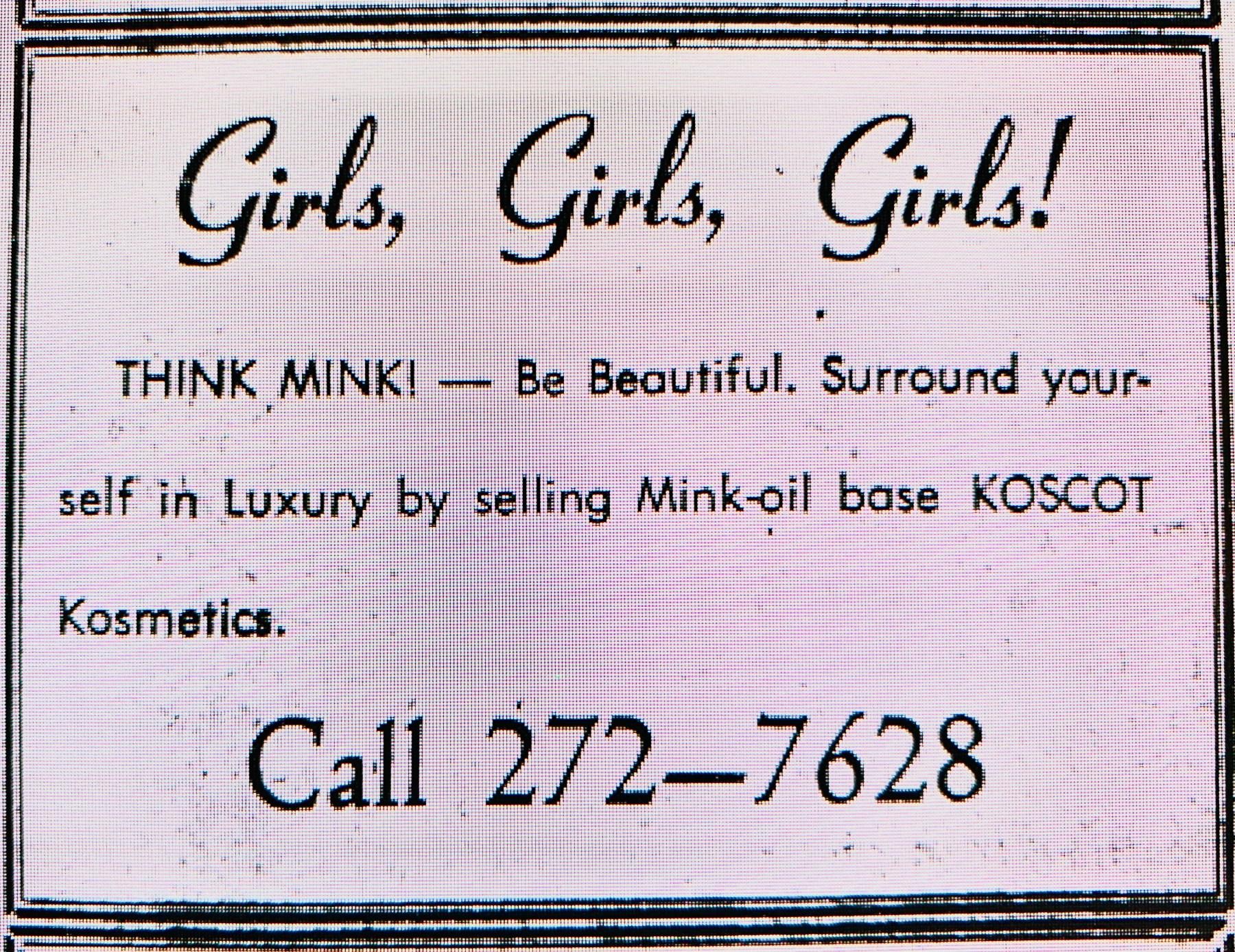 Koscot Kosmetics ad, Burlington MA