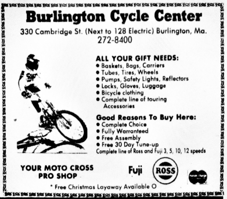 Burlington Cycle Center ad, Burlington MA