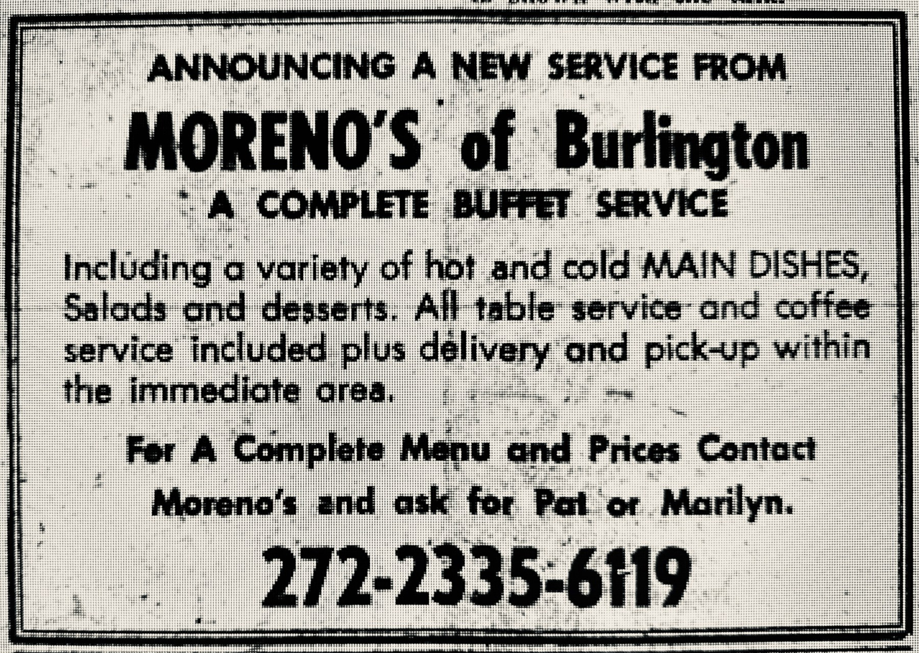 Moreno's buffet service, Burlington MA