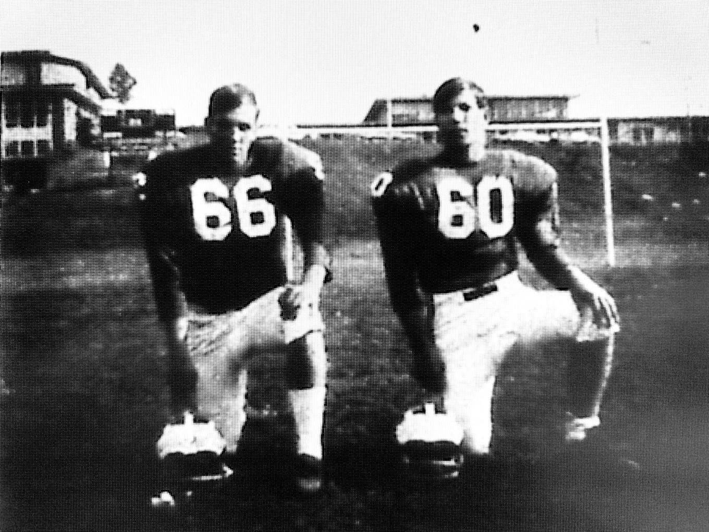 BHS footballers Carl Reichert and Tom Yakavonis, Burlington MA