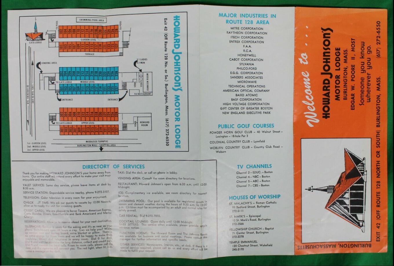 Howard Johnson's Motor Lodge Burlington, MA brochure 1