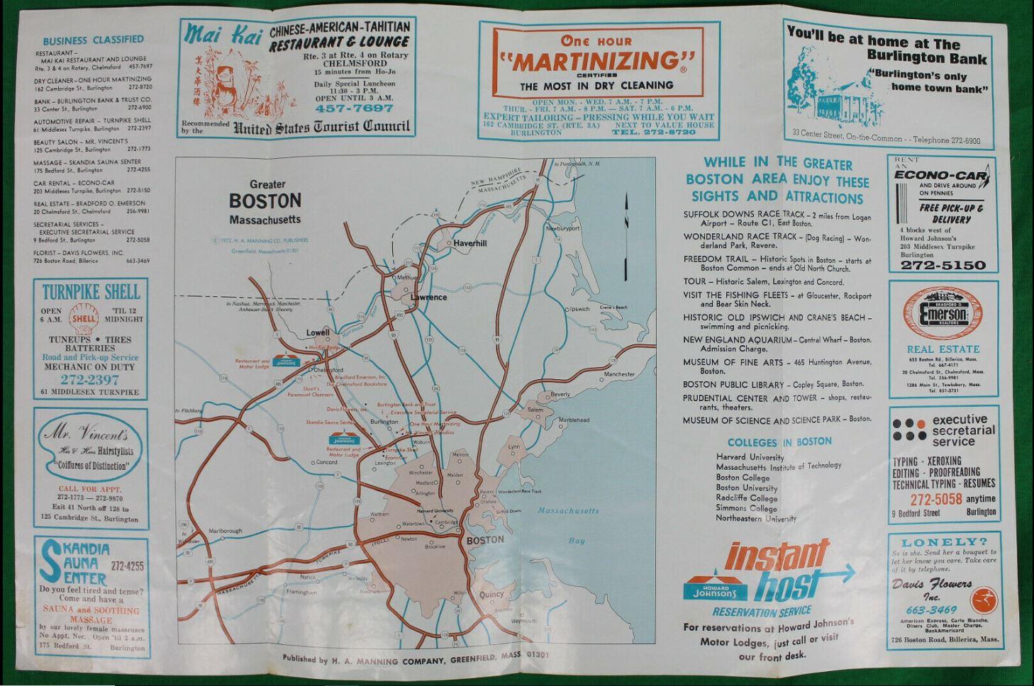 Howard Johnson's Motor Lodge Burlington MA brochure 2