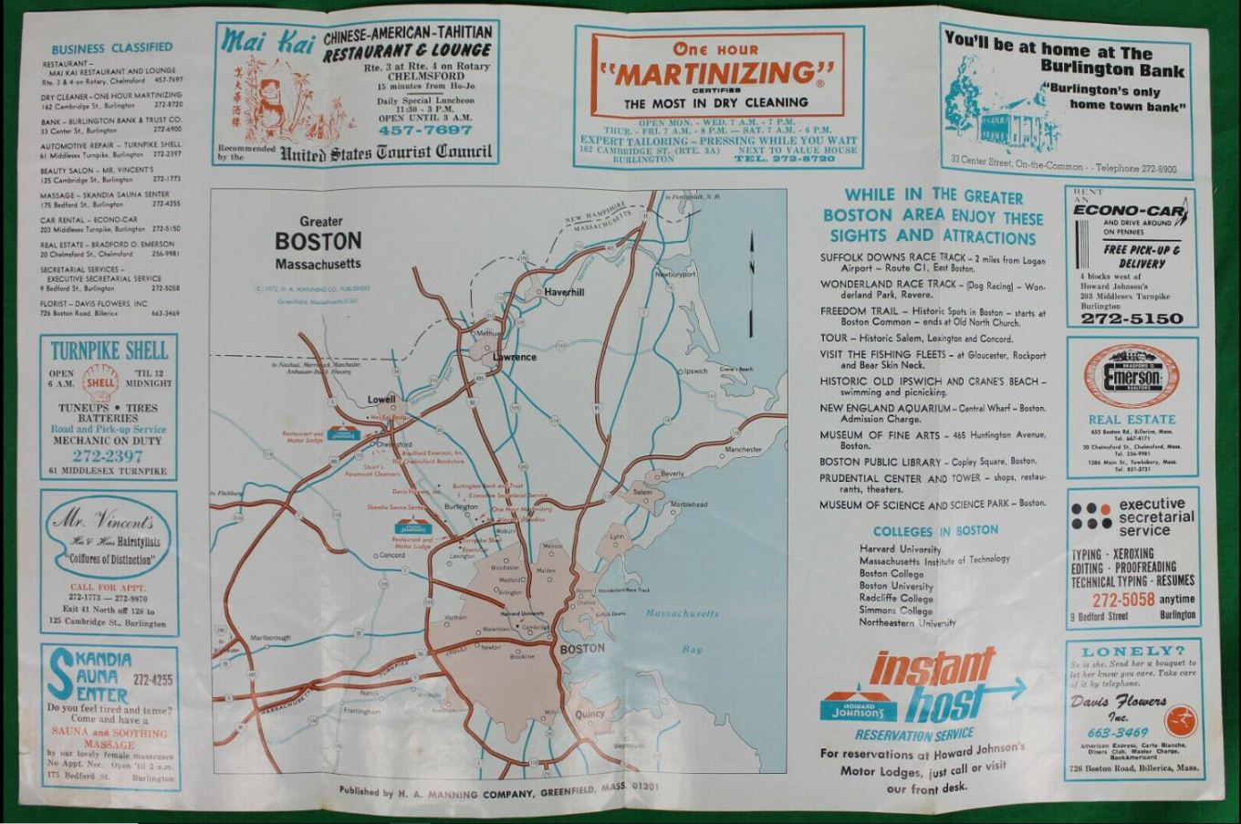 Howard Johnson's Motor Lodge Burlington MA brochure 2