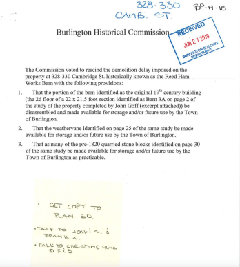 Burlington Historial Commission right to rescind, Reed Ham Works site, Burlington MA