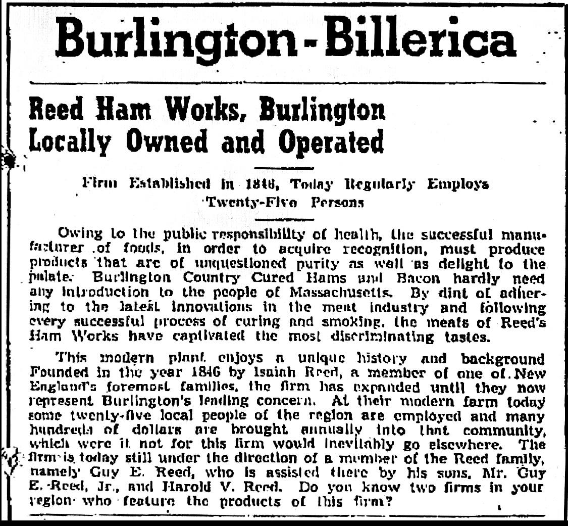 Reed Ham Works ad, Burlington MA 1941