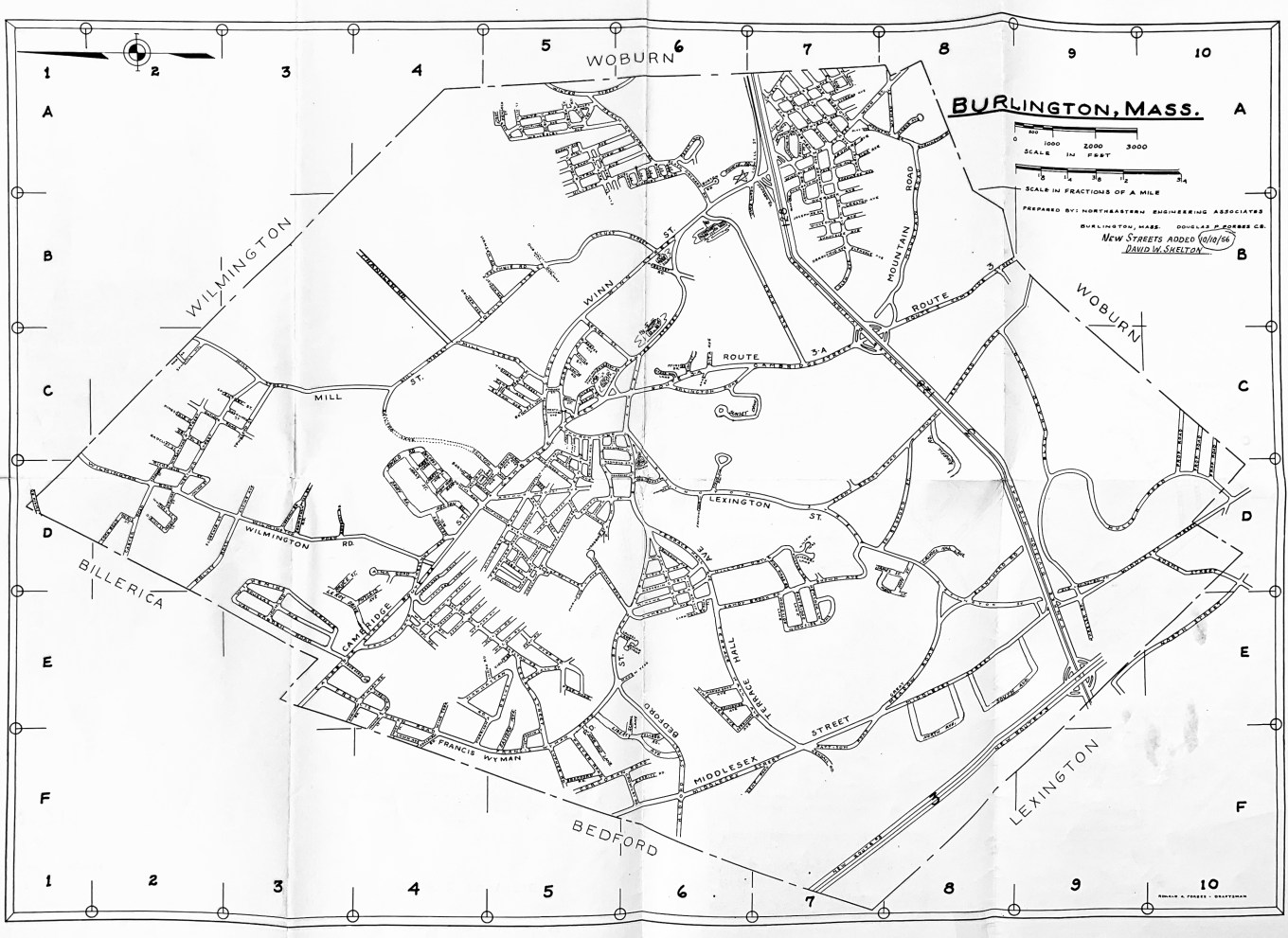 Burlington MA map 1956