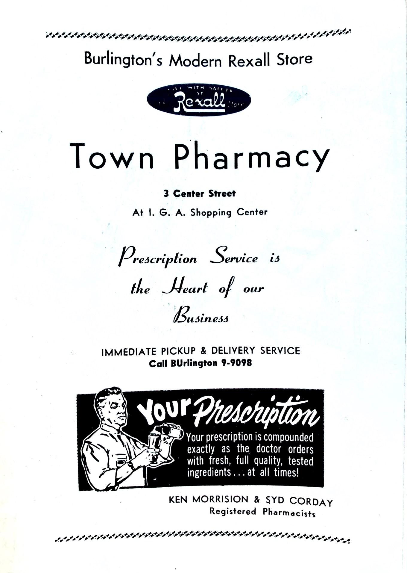 Town Pharmacy/Rexall ad 1956 Burlington MA