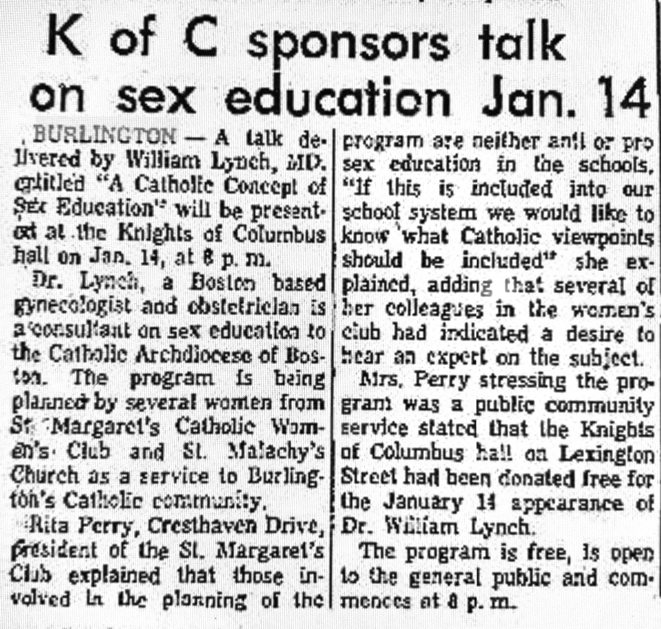 K of C sex education talk Burlington MA