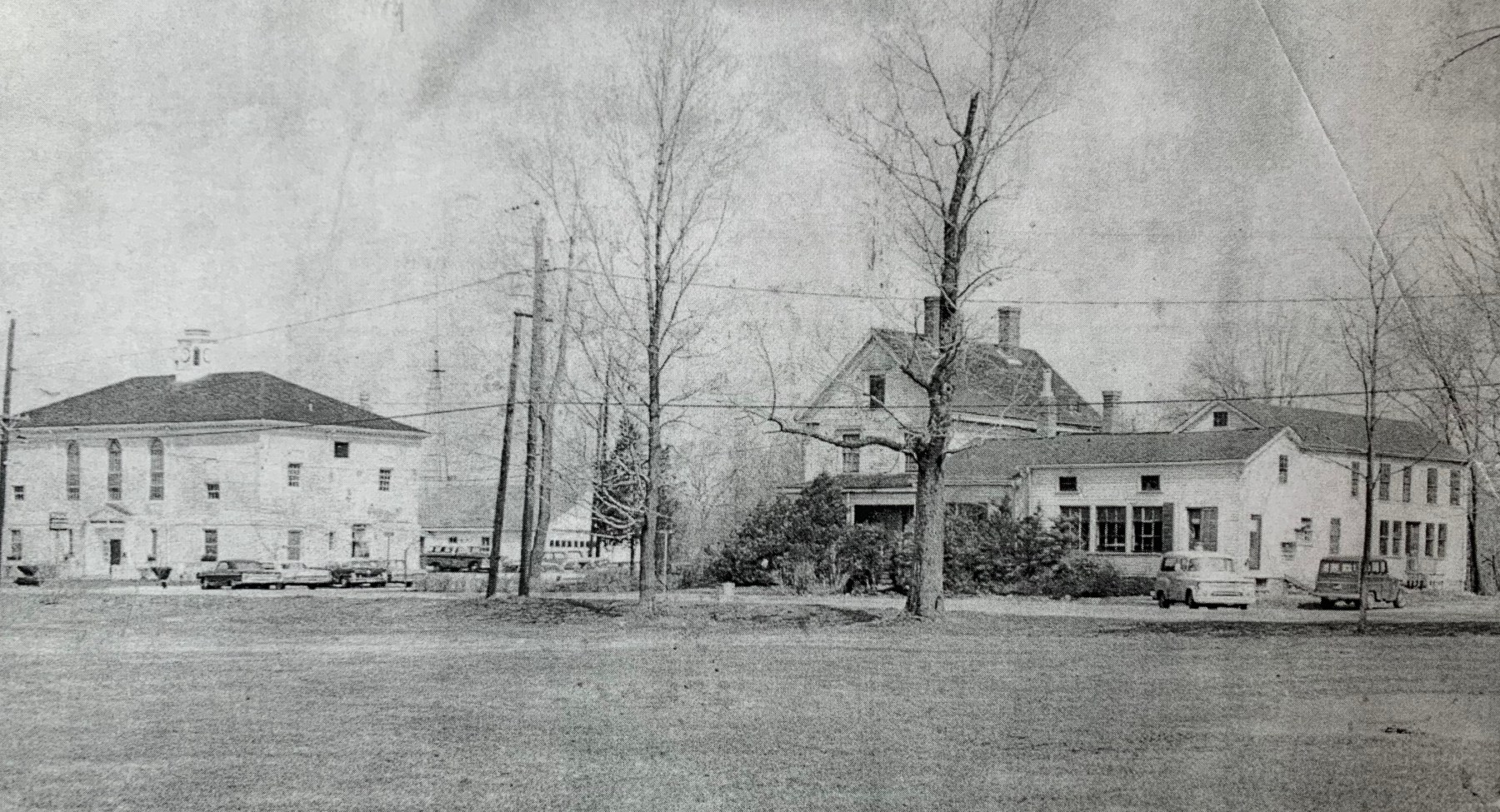 Town Hall and Silas Cutler's General Store, c. 1950