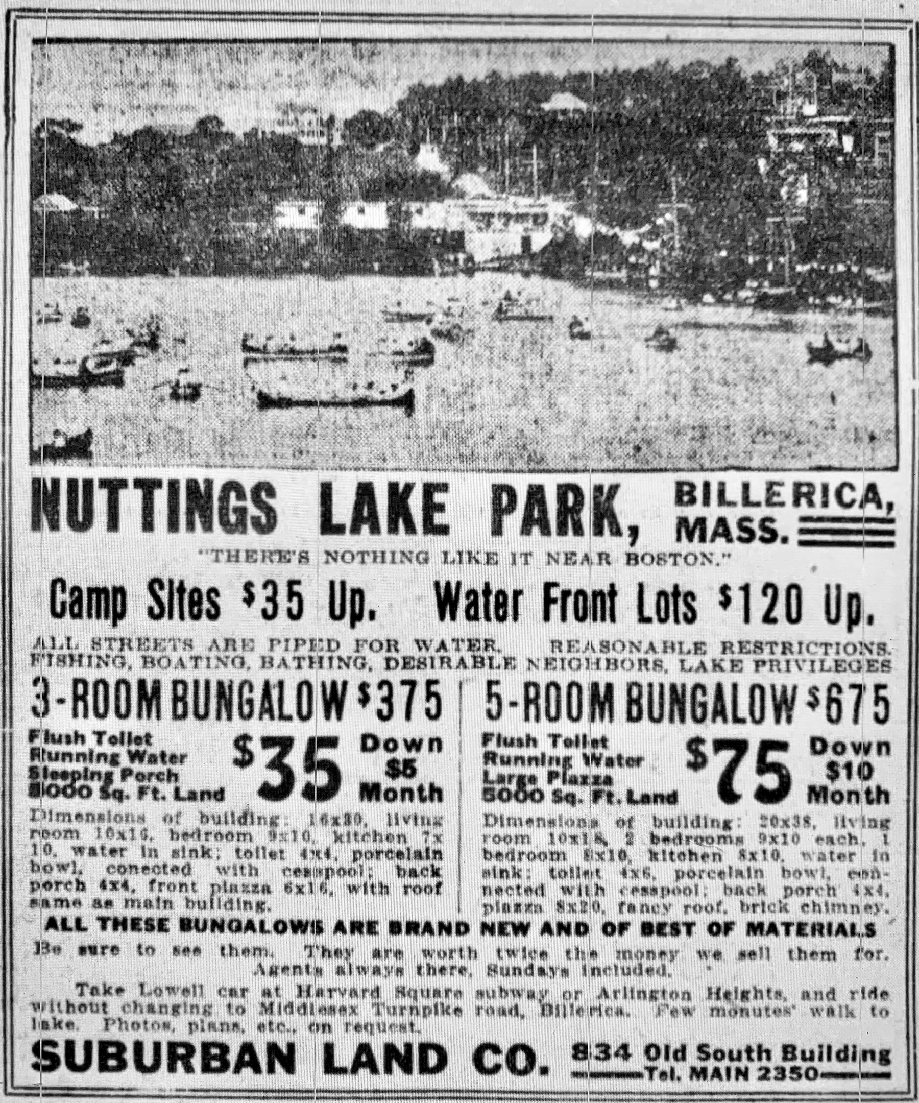 Nuttings Lake Park Billerica1917