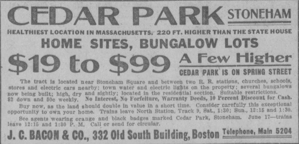 Cedar Park Stoneham, MA 1915