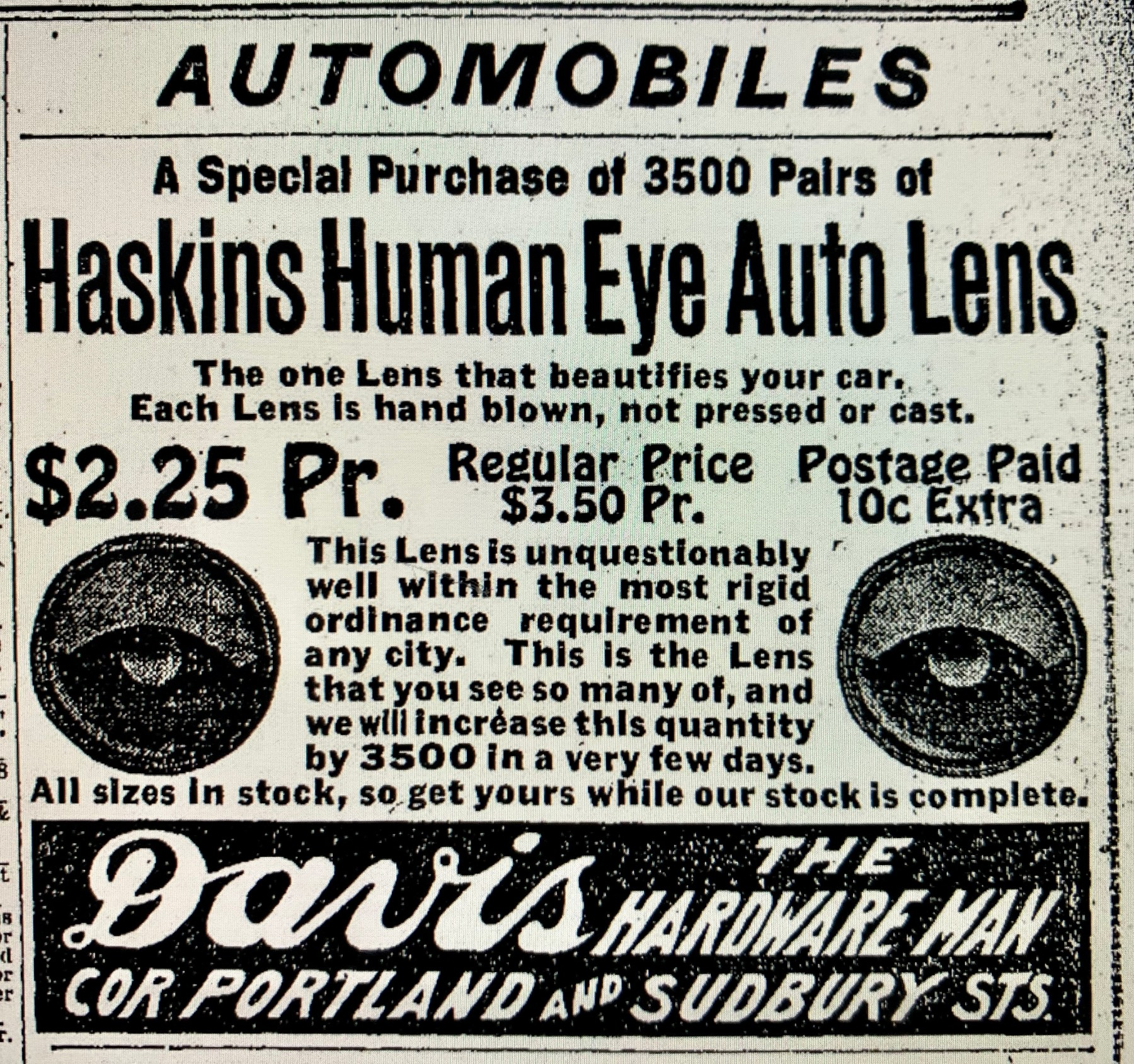 Haskins Human Eye Auto Lens Boston 1916