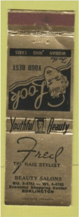 Fred Hair Stylist matchbook cover Burlington MA