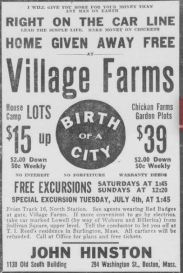 "Village Farms ""Birth of a City"" ad 1916"