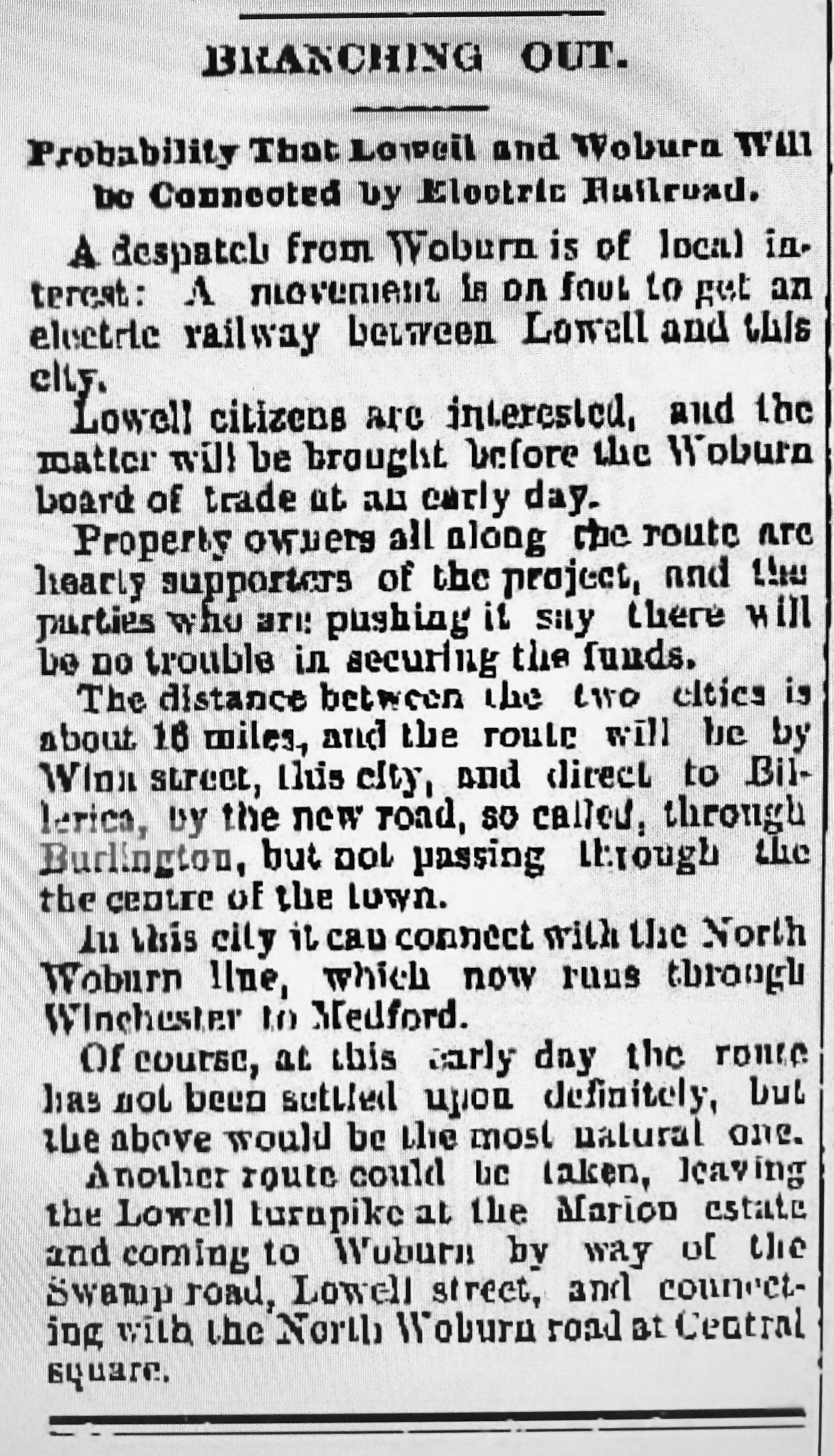 Electric railroad proposed from Woburn to Lowell, through Burlington MA
