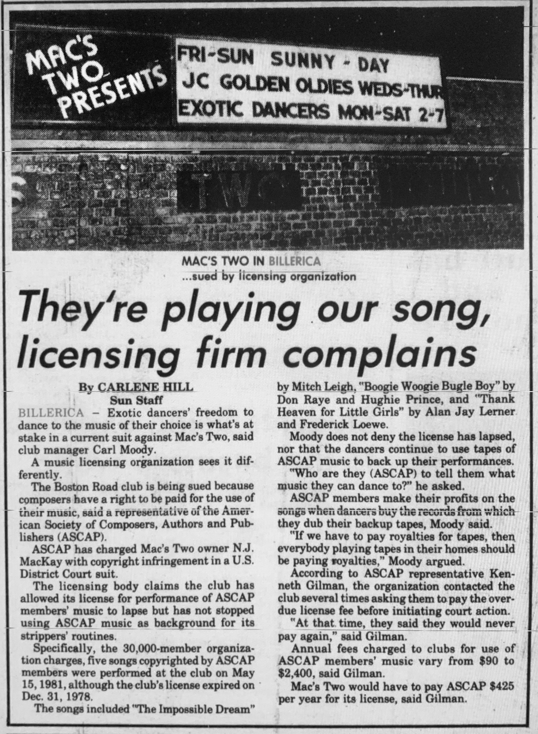 ASCAP vs Mac's Two 1981