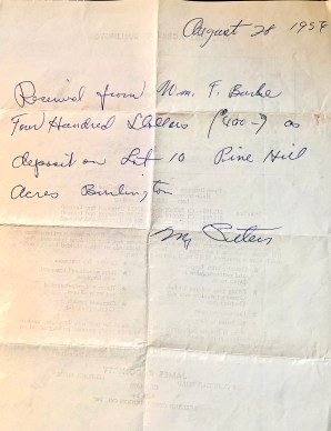 18 College Road receipt for deposit, 1956