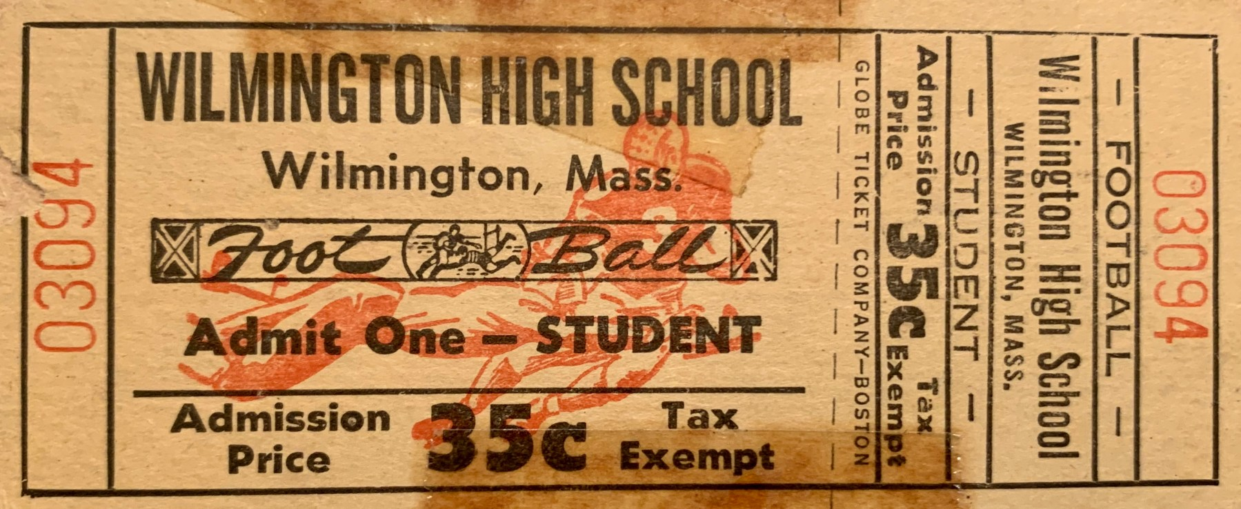 Wilmington High School football game ticket 1950s