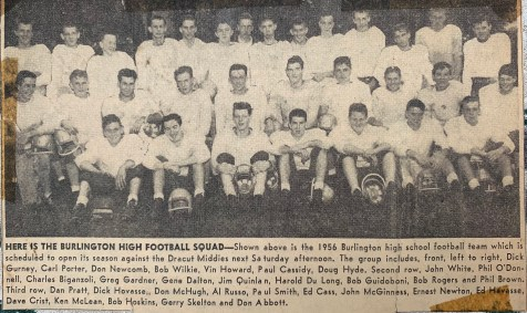 1956 Burlington High School football lineup Burlington MA