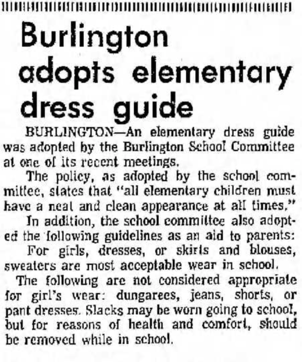 Dec. 1970 elementary dress code, Burlington MA
