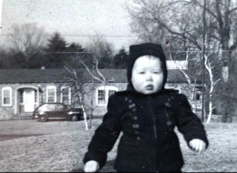 Grey Squirrel with baby 1947 Burlington MA
